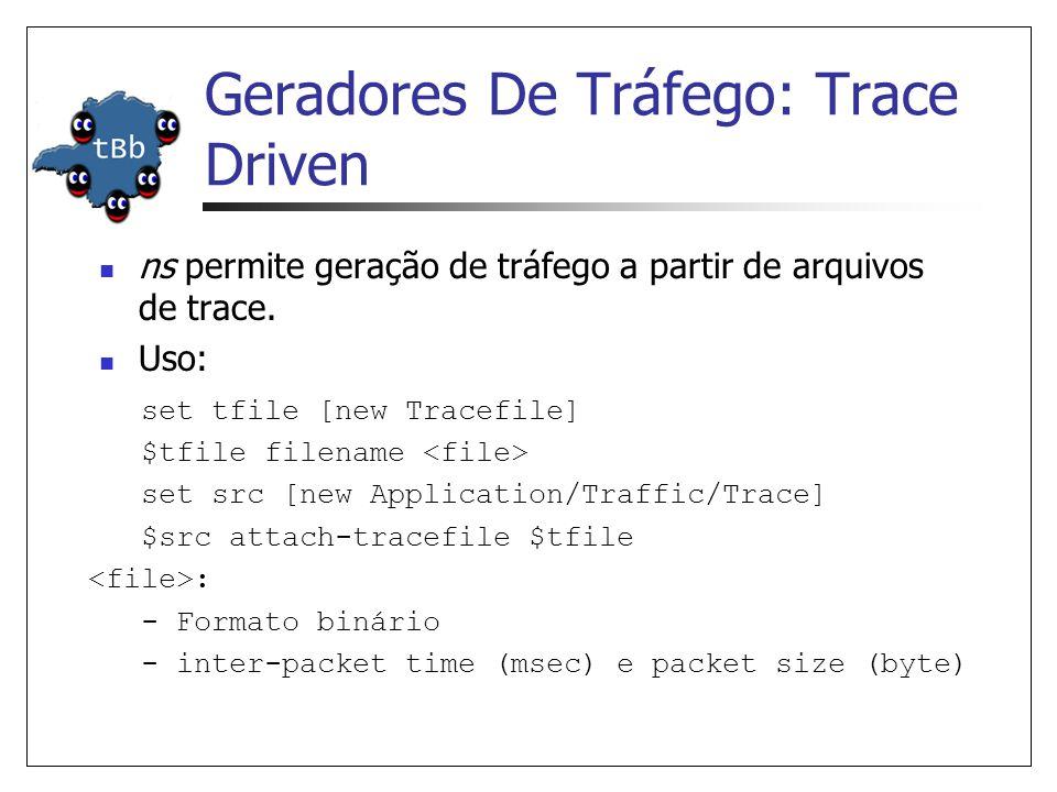 Aplicações Simuladas ns permite a simulação de dois tipos de aplicações: Application/FTP Application/Telnet