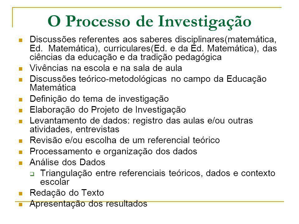 O Processo de Investigação Discussões referentes aos saberes disciplinares(matemática, Ed. Matemática), curriculares(Ed. e da Ed. Matemática), das ciê