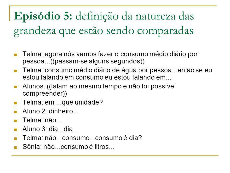 Episódio 5: definição da natureza das grandeza que estão sendo comparadas Telma: agora nós vamos fazer o consumo médio diário por pessoa...((passam-se