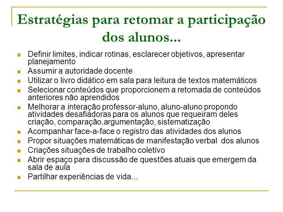 Estratégias para retomar a participação dos alunos... Definir limites, indicar rotinas, esclarecer objetivos, apresentar planejamento Assumir a autori