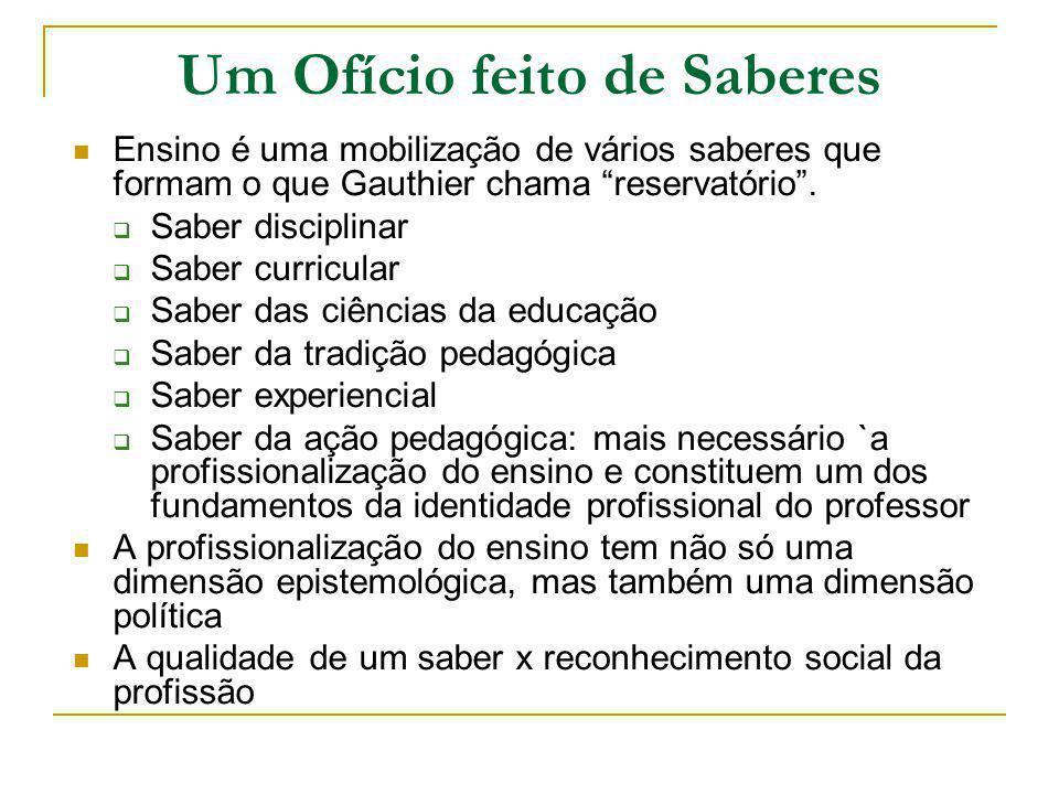 Um Ofício feito de Saberes Ensino é uma mobilização de vários saberes que formam o que Gauthier chama reservatório. Saber disciplinar Saber curricular