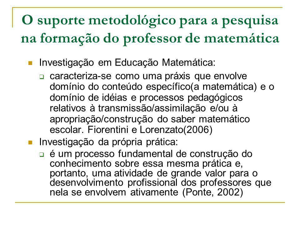 O suporte metodológico para a pesquisa na formação do professor de matemática Investigação em Educação Matemática: caracteriza-se como uma práxis que