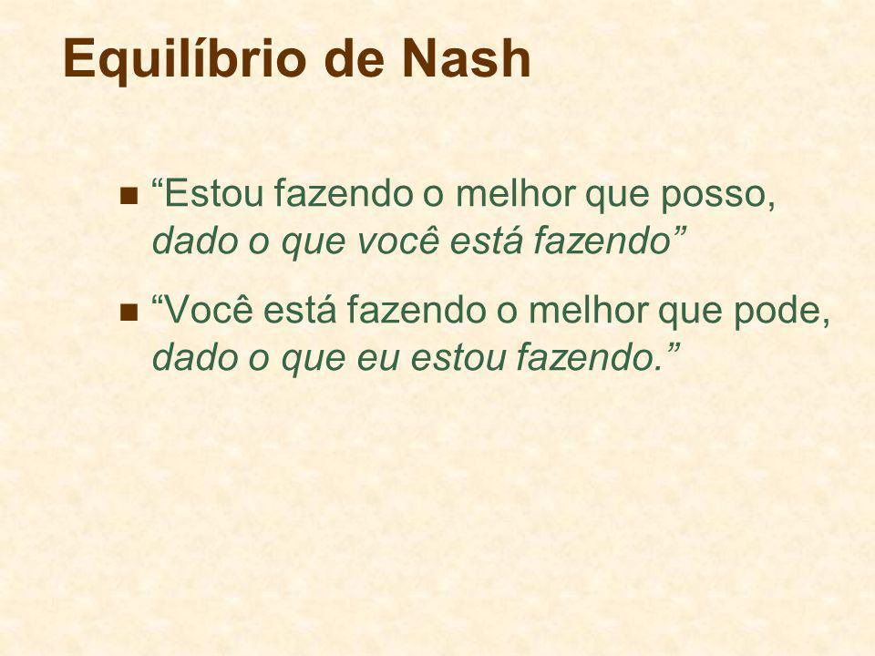 Equilíbrio de Nash Estou fazendo o melhor que posso, dado o que você está fazendo Você está fazendo o melhor que pode, dado o que eu estou fazendo.
