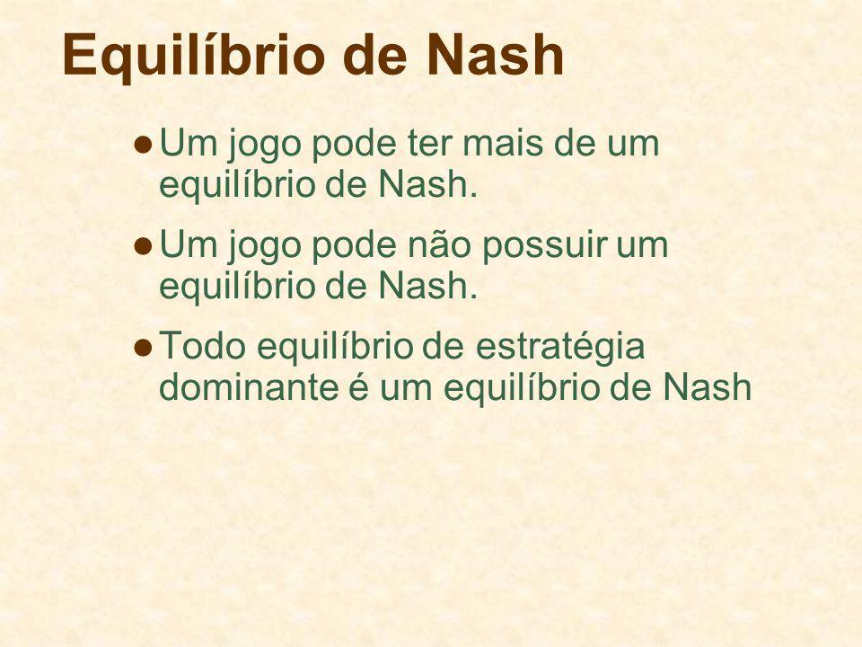 Equilíbrio de Nash Um jogo pode ter mais de um equilíbrio de Nash. Um jogo pode não possuir um equilíbrio de Nash. Todo equilíbrio de estratégia domin