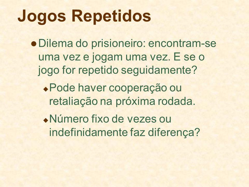 Jogos Repetidos Dilema do prisioneiro: encontram-se uma vez e jogam uma vez. E se o jogo for repetido seguidamente? Pode haver cooperação ou retaliaçã