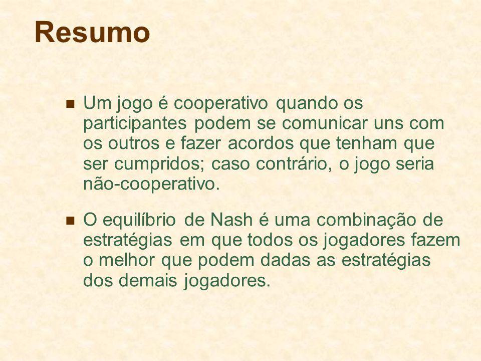 Resumo Um jogo é cooperativo quando os participantes podem se comunicar uns com os outros e fazer acordos que tenham que ser cumpridos; caso contrário