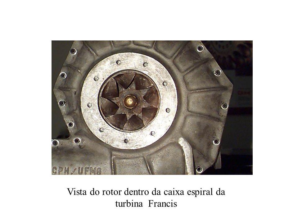 Vista do rotor dentro da caixa espiral da turbina Francis