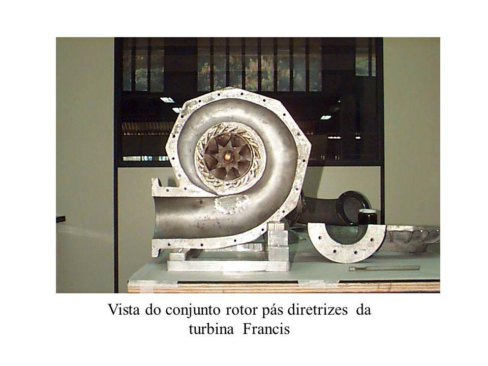 Vista do conjunto rotor pás diretrizes da turbina Francis