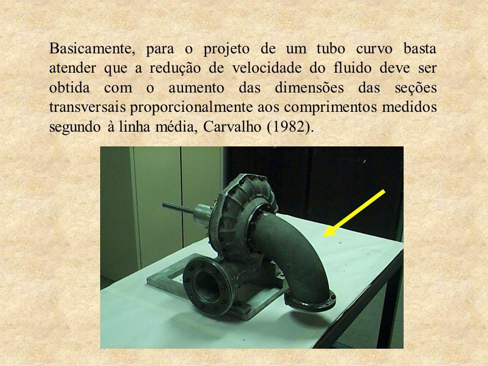 Basicamente, para o projeto de um tubo curvo basta atender que a redução de velocidade do fluido deve ser obtida com o aumento das dimensões das seçõe