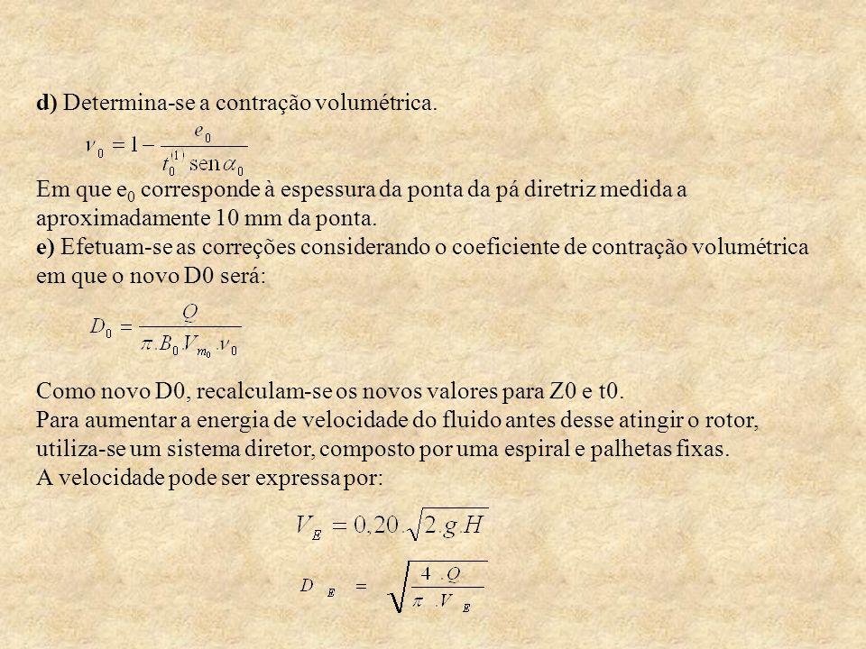 d) Determina-se a contração volumétrica. Em que e 0 corresponde à espessura da ponta da pá diretriz medida a aproximadamente 10 mm da ponta. e) Efetua
