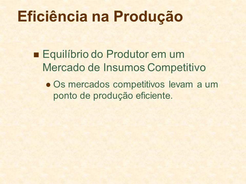Eficiência na Produção Observações sobre o Mercado Competitivo O salário (w) e o preço do capital (r) são idênticos para todas as indústrias.