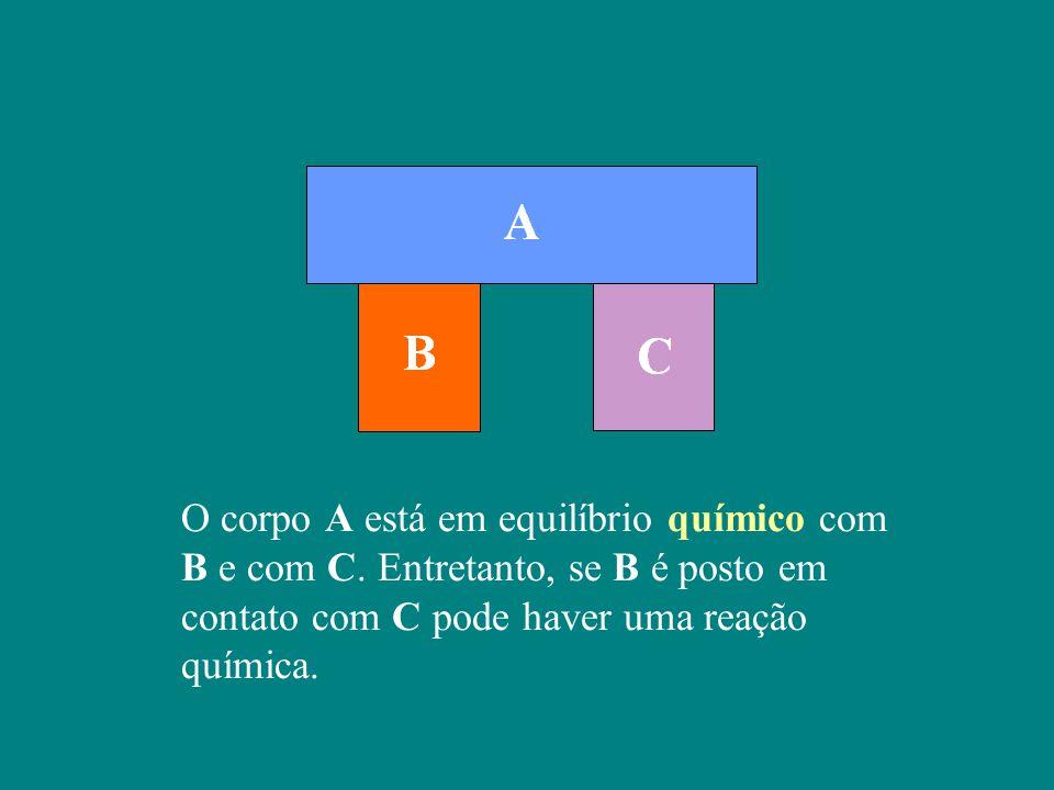 O corpo A está em equilíbrio químico com B e com C.