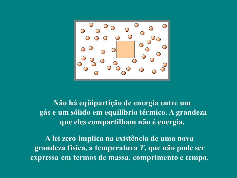 Não há eqüipartição de energia entre um gás e um sólido em equilíbrio térmico.