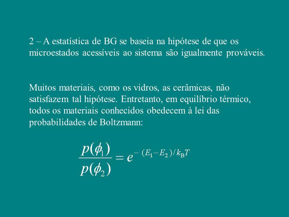 2 – A estatística de BG se baseia na hipótese de que os microestados acessíveis ao sistema são igualmente prováveis.