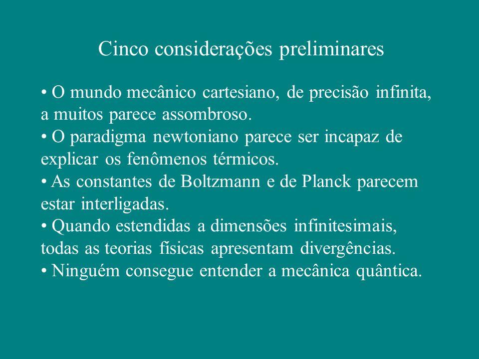 Cinco considerações preliminares O mundo mecânico cartesiano, de precisão infinita, a muitos parece assombroso.