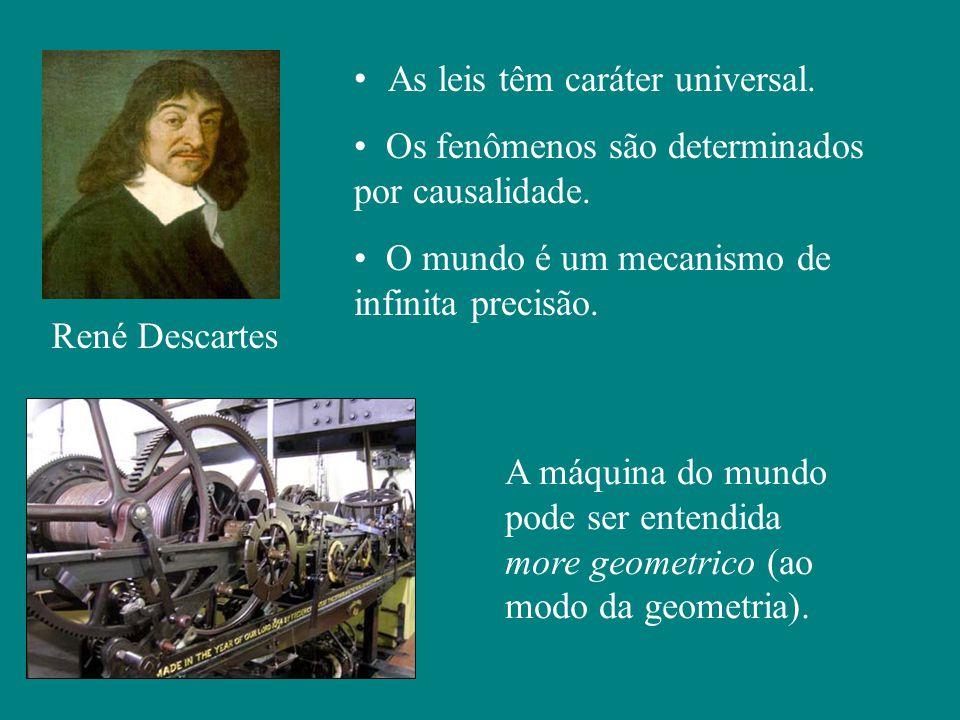 René Descartes As leis têm caráter universal. Os fenômenos são determinados por causalidade.