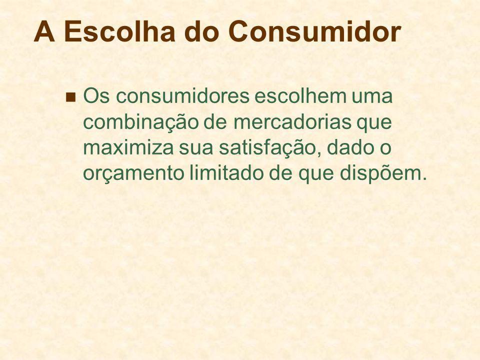 A Escolha do Consumidor Os consumidores escolhem uma combinação de mercadorias que maximiza sua satisfação, dado o orçamento limitado de que dispõem.