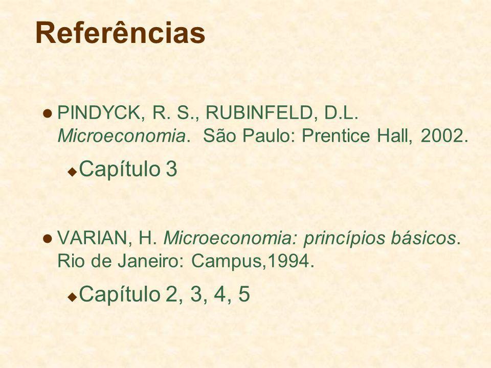 Referências PINDYCK, R. S., RUBINFELD, D.L. Microeconomia. São Paulo: Prentice Hall, 2002. Capítulo 3 VARIAN, H. Microeconomia: princípios básicos. Ri