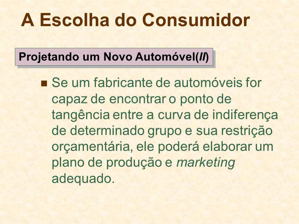 A Escolha do Consumidor Se um fabricante de automóveis for capaz de encontrar o ponto de tangência entre a curva de indiferença de determinado grupo e