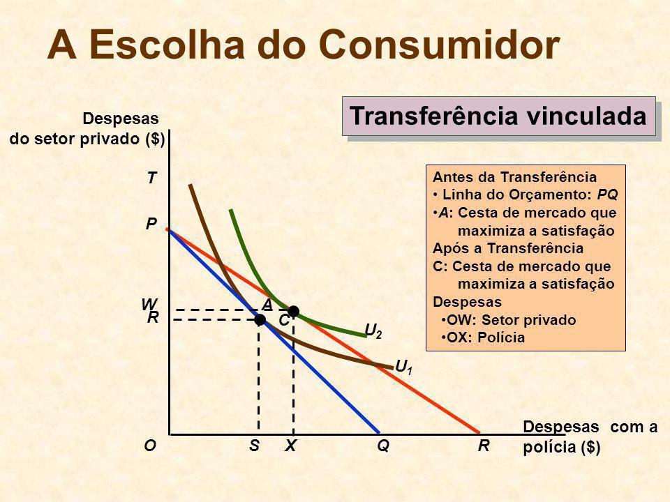 P R U2U2 T U1U1 A Escolha do Consumidor Transferência vinculada Despesas com a polícia ($) Despesas do setor privado ($) OQS R Antes da Transferência