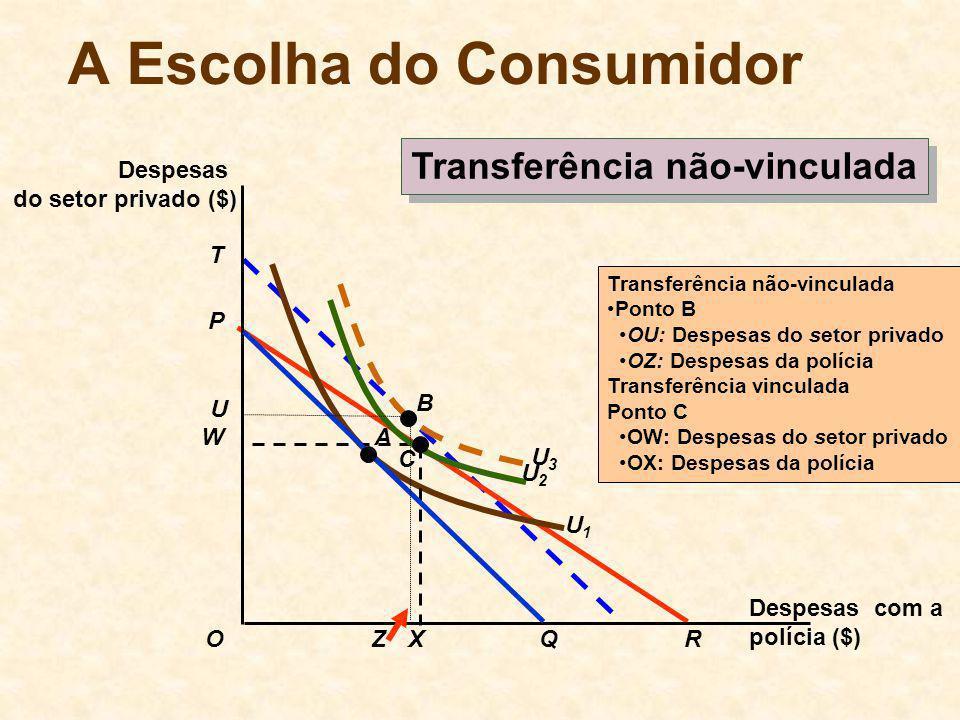 T U3U3 U1U1 Transferência não-vinculada Ponto B OU: Despesas do setor privado OZ: Despesas da polícia Transferência vinculada Ponto C OW: Despesas do