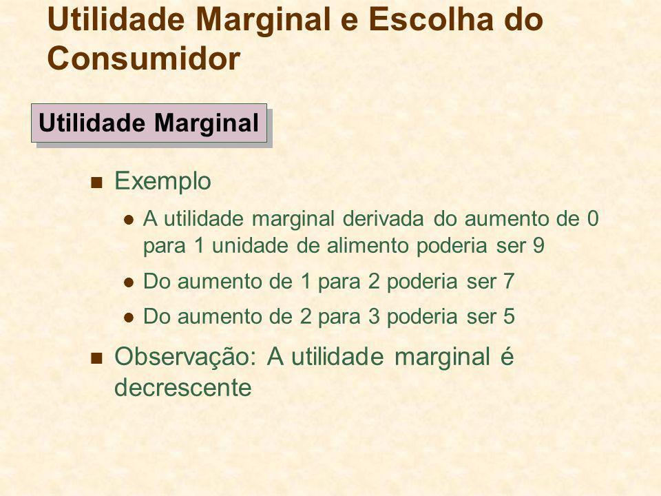 Exemplo A utilidade marginal derivada do aumento de 0 para 1 unidade de alimento poderia ser 9 Do aumento de 1 para 2 poderia ser 7 Do aumento de 2 pa
