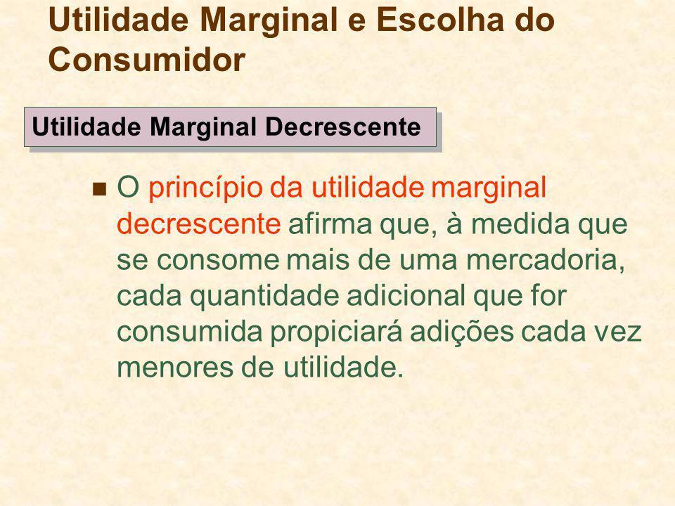 O princípio da utilidade marginal decrescente afirma que, à medida que se consome mais de uma mercadoria, cada quantidade adicional que for consumida