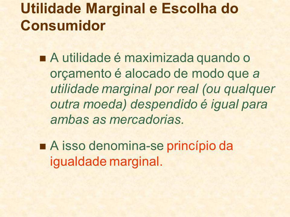 A utilidade é maximizada quando o orçamento é alocado de modo que a utilidade marginal por real (ou qualquer outra moeda) despendido é igual para amba
