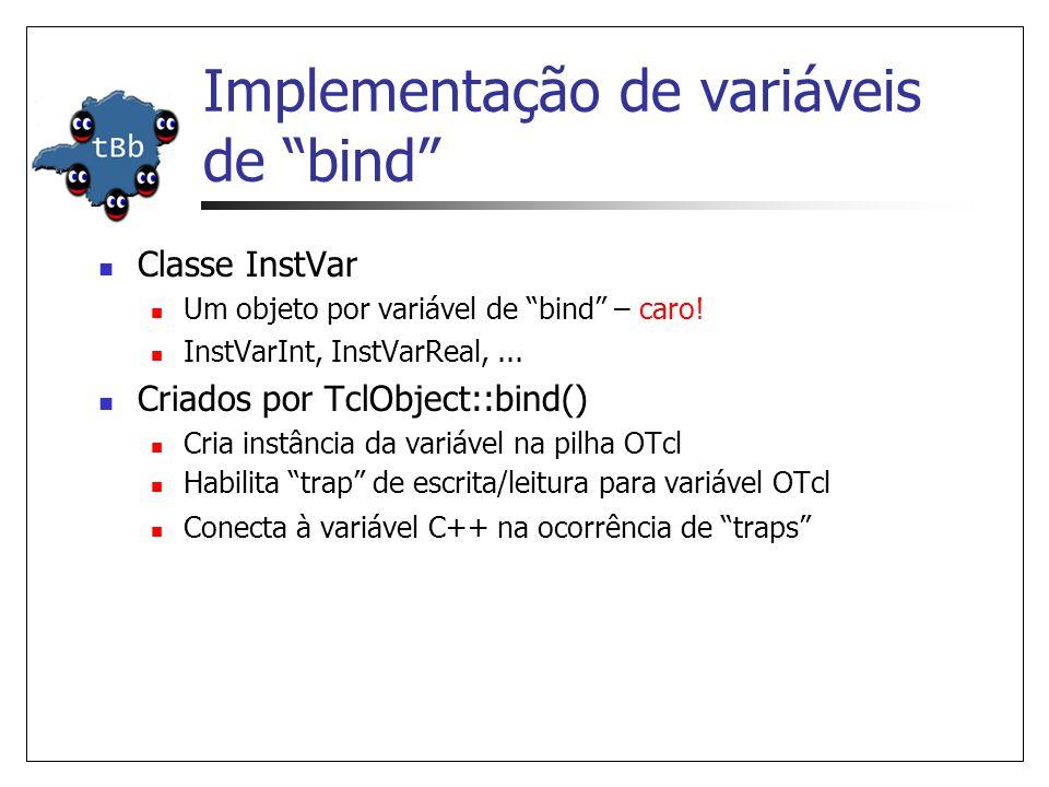 Implementação de variáveis de bind Classe InstVar Um objeto por variável de bind – caro! InstVarInt, InstVarReal,... Criados por TclObject::bind() Cri