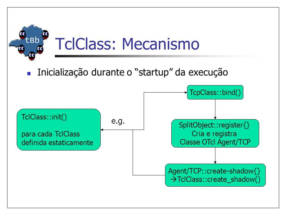 TclClass: Mecanismo Inicialização durante o startup da execução SplitObject::register{} Cria e registra Classe OTcl Agent/TCP TclClass::init() para cada TclClass definida estaticamente TcpClass::bind() e.g.