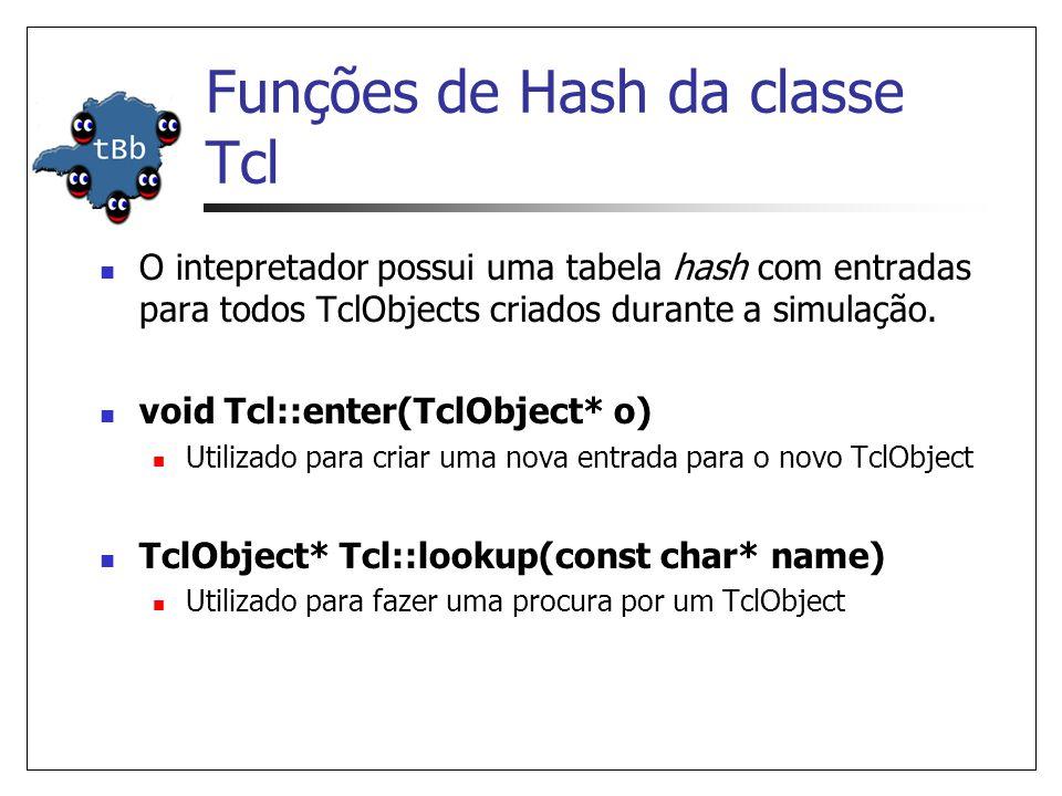 Funções de Hash da classe Tcl O intepretador possui uma tabela hash com entradas para todos TclObjects criados durante a simulação. void Tcl::enter(Tc