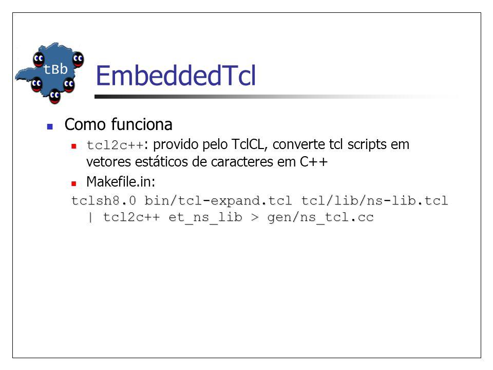 EmbeddedTcl Como funciona tcl2c++ tcl2c++ : provido pelo TclCL, converte tcl scripts em vetores estáticos de caracteres em C++ Makefile.in: tclsh8.0 b