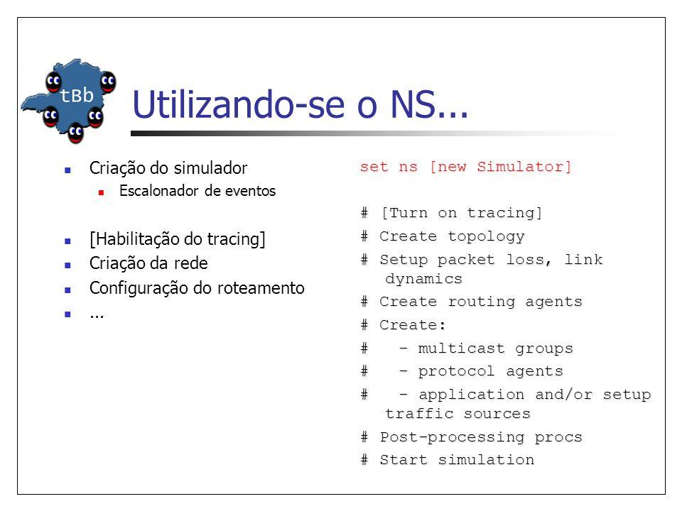 Utilizando-se o NS... Criação do simulador Escalonador de eventos [Habilitação do tracing] Criação da rede Configuração do roteamento... set ns [new S