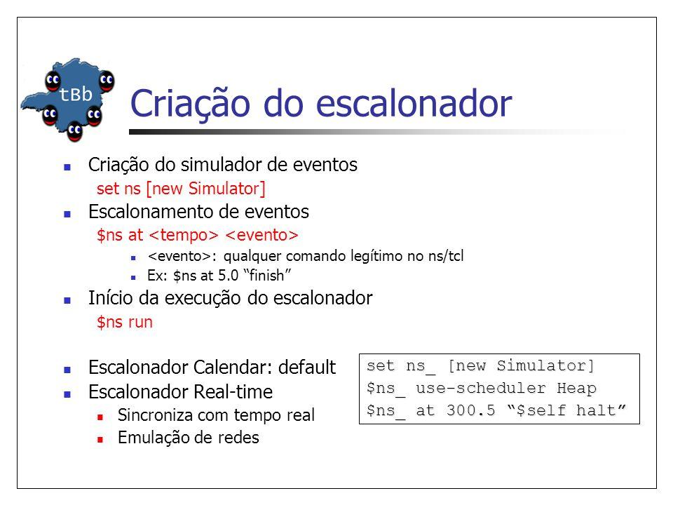 Criação do escalonador Criação do simulador de eventos set ns [new Simulator] Escalonamento de eventos $ns at : qualquer comando legítimo no ns/tcl Ex: $ns at 5.0 finish Início da execução do escalonador $ns run Escalonador Calendar: default Escalonador Real-time Sincroniza com tempo real Emulação de redes set ns_ [new Simulator] $ns_ use-scheduler Heap $ns_ at 300.5 $self halt