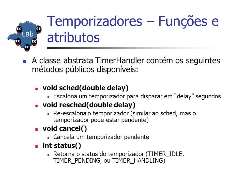 Temporizadores – Funções e atributos A classe abstrata TimerHandler contém os seguintes métodos públicos disponíveis: void sched(double delay) Escalona um temporizador para disparar em delay segundos void resched(double delay) Re-escalona o temporizador (similar ao sched, mas o temporizador pode estar pendente) void cancel() Cancela um temporizador pendente int status() Retorna o status do temporizador (TIMER_IDLE, TIMER_PENDING, ou TIMER_HANDLING)