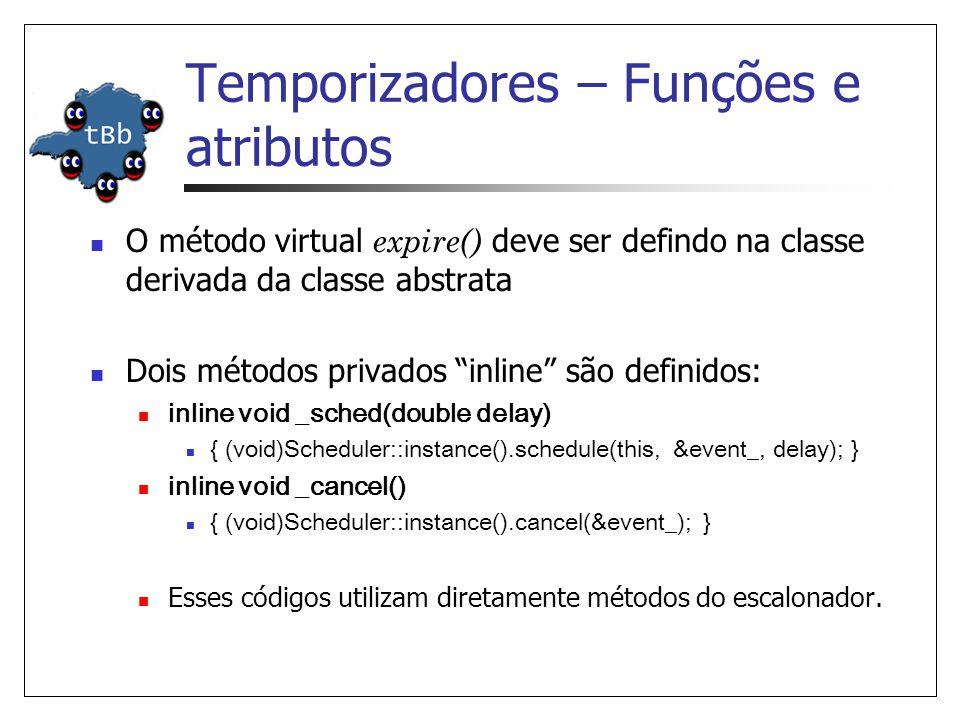 Temporizadores – Funções e atributos O método virtual expire() deve ser defindo na classe derivada da classe abstrata Dois métodos privados inline são definidos: inline void _sched(double delay) { (void)Scheduler::instance().schedule(this, &event_, delay); } inline void _cancel() { (void)Scheduler::instance().cancel(&event_); } Esses códigos utilizam diretamente métodos do escalonador.