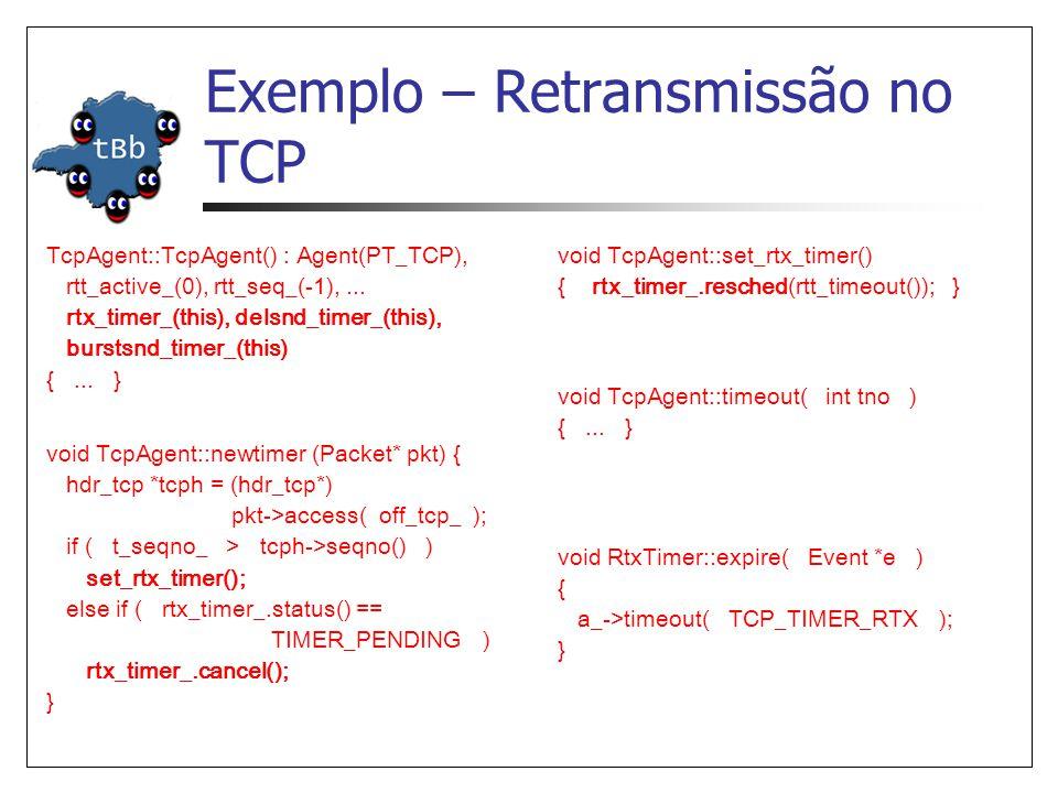 Exemplo – Retransmissão no TCP TcpAgent::TcpAgent() : Agent(PT_TCP), rtt_active_(0), rtt_seq_(-1),... rtx_timer_(this), delsnd_timer_(this), burstsnd_