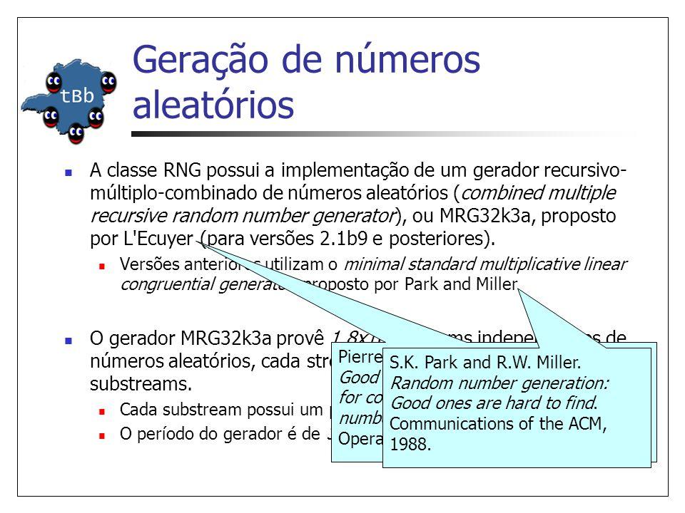 Geração de números aleatórios A classe RNG possui a implementação de um gerador recursivo- múltiplo-combinado de números aleatórios (combined multiple