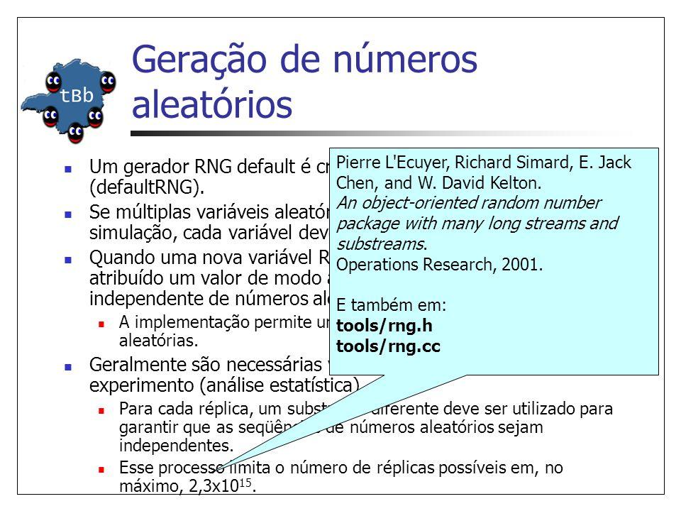 Geração de números aleatórios Um gerador RNG default é criado no início da simulação (defaultRNG).