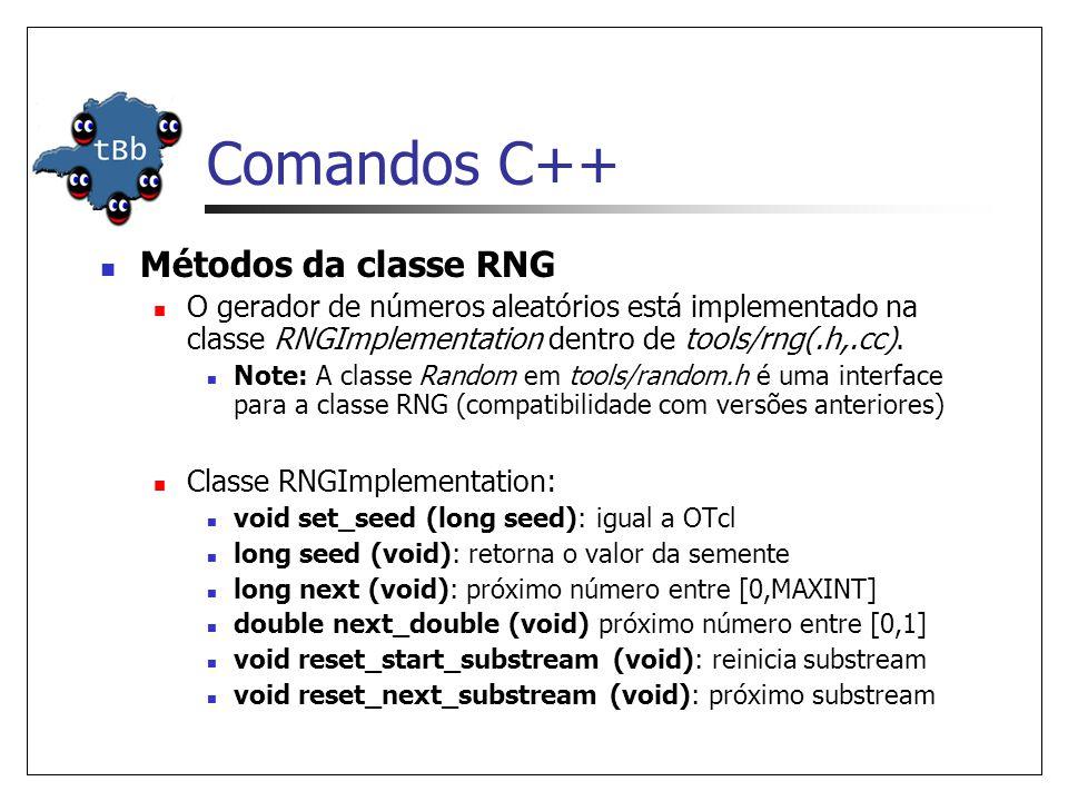 Comandos C++ Métodos da classe RNG O gerador de números aleatórios está implementado na classe RNGImplementation dentro de tools/rng(.h,.cc).
