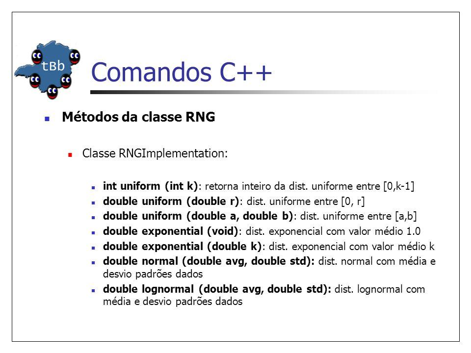 Comandos C++ Métodos da classe RNG Classe RNGImplementation: int uniform (int k): retorna inteiro da dist.