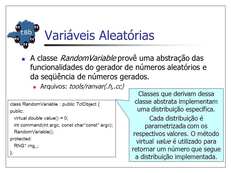 Variáveis Aleatórias A classe RandomVariable provê uma abstração das funcionalidades do gerador de números aleatórios e da seqüência de números gerado