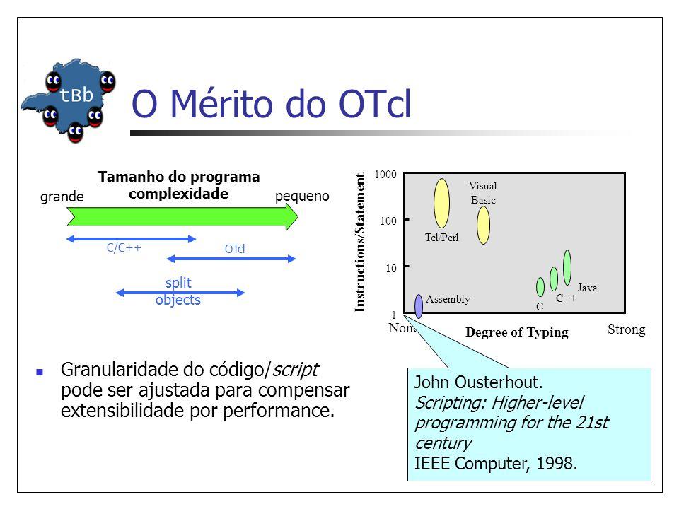 TclObject: Criação e Remoção C++ OTcl chama cons_ trutor do pai construtor Agent/TCP construtor pai (Agent) chama cons_ trutor do pai construtor TclObject cria objeto C++ construtor AgentTCP chama cons_ trutor do pai chama cons_ trutor do pai construtor pai (Agent) Não faz nada, retorna construtor TclObject (C++) realiza binds e retorna realiza binds e retorna cria objeto shadow OTcl completa inicialização completa inicialização Qual objeto C++ deve ser criado.