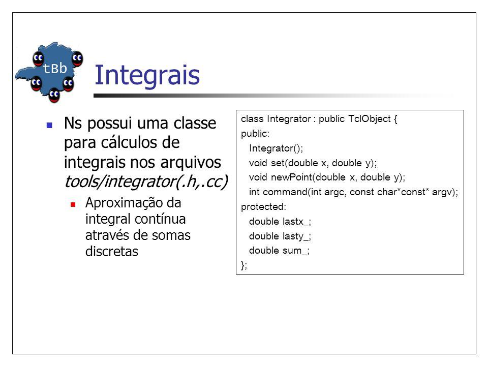 Integrais Ns possui uma classe para cálculos de integrais nos arquivos tools/integrator(.h,.cc) Aproximação da integral contínua através de somas discretas class Integrator : public TclObject { public: Integrator(); void set(double x, double y); void newPoint(double x, double y); int command(int argc, const char*const* argv); protected: double lastx_; double lasty_; double sum_; };