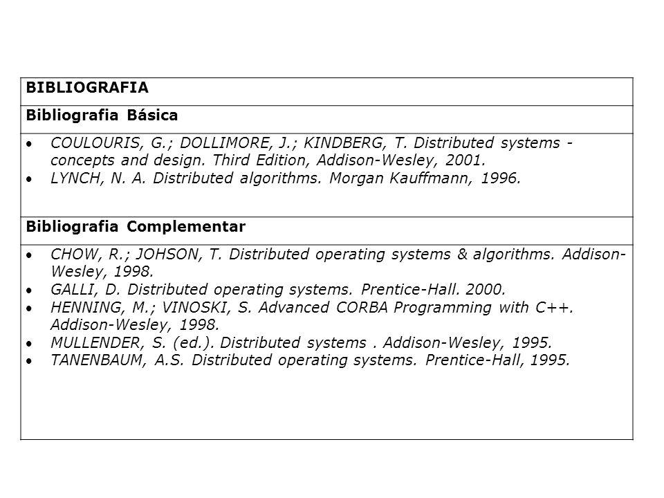 BIBLIOGRAFIA Bibliografia Básica COULOURIS, G.; DOLLIMORE, J.; KINDBERG, T.