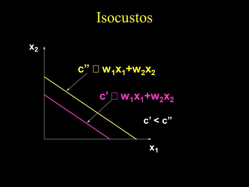 Isocustos c w 1 x 1 +w 2 x 2 c < c x1x1 x2x2