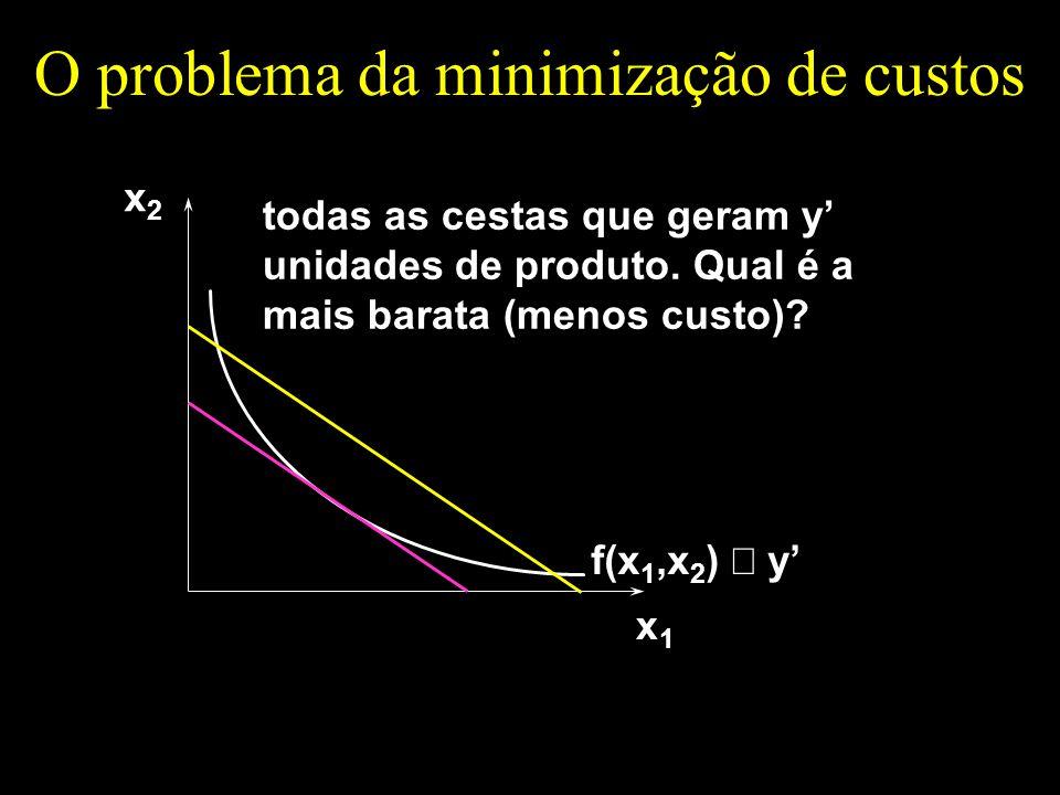O problema da minimização de custos x1x1 x2x2 todas as cestas que geram y unidades de produto. Qual é a mais barata (menos custo)? f(x 1,x 2 ) y