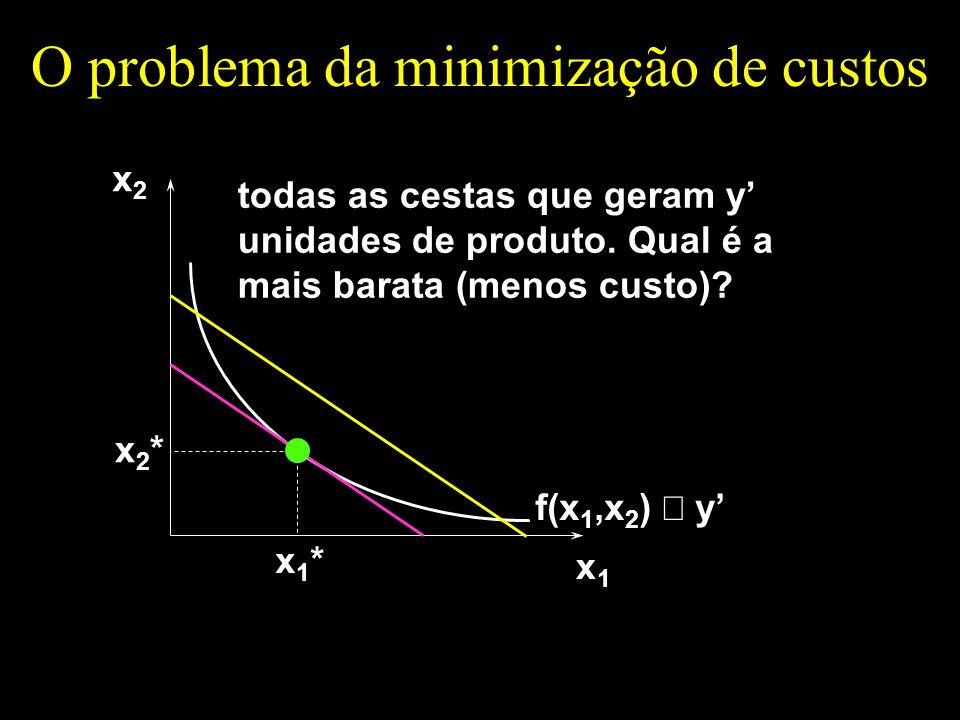 O problema da minimização de custos x1x1 x2x2 todas as cestas que geram y unidades de produto. Qual é a mais barata (menos custo)? f(x 1,x 2 ) y x1*x1