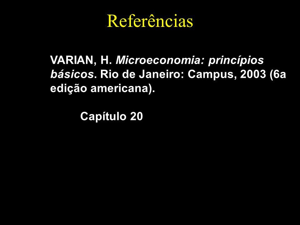Referências VARIAN, H. Microeconomia: princípios básicos. Rio de Janeiro: Campus, 2003 (6a edição americana). Capítulo 20