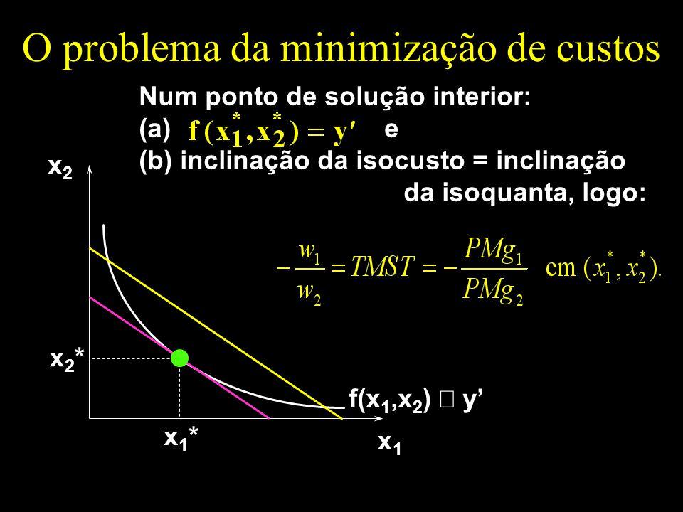 O problema da minimização de custos x1x1 x2x2 f(x 1,x 2 ) y x1*x1* x2*x2* Num ponto de solução interior: (a) e (b) inclinação da isocusto = inclinação